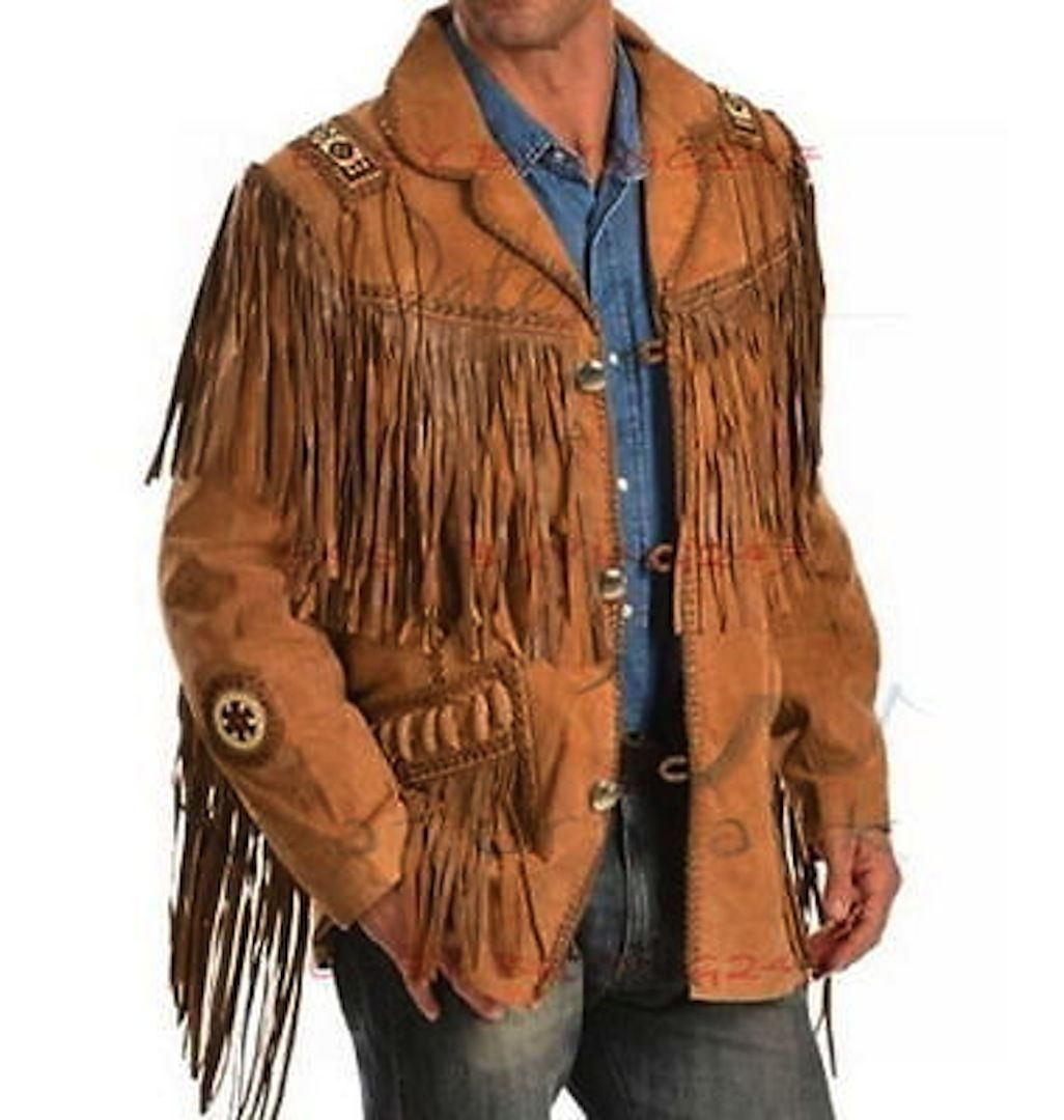 New Men's Native American Buckskin Brown Suede Leather Jacket & Pant WS12