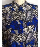 Vintage Julie Francis Blue Rose Butterfly Beaded Silk Blouse Top Womens ... - $39.59