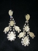 Vintage Long Prong Set Rhinestone Earrings - $4.45