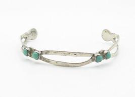 MEXICO 925 Silver - Vintage Antique Petite Turquoise Cuff Bracelet - B6200 image 2
