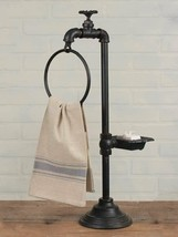 Industrial-Water Faucet Soap Dish and Towel Holder Twist of Farmhouse Decor - $22.99
