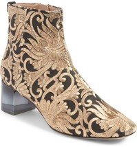 Tory Burch Women's Carlotta Nayan Brocade Ankle Boots Bootie Gold Black ... - $165.59