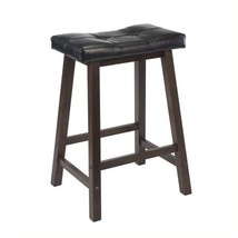 "Winsome Mona 24"" Cushion Saddle Stool in Antique Walnut - $66.21"
