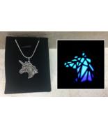 Origami UNICORN Head GLOW IN THE DARK Fantasy Charm Pendant Necklace Abs... - $12.30+