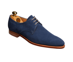 Handmade Men Blue Suede Dress/Formal Oxford Shoes image 2