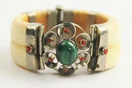 ANTIQUE ESTATE Jewelry PIN CLOSURE BANGLE BRACELET CORAL MALACHITE TRIBA... - $425.00