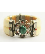 ANTIQUE ESTATE Jewelry PIN CLOSURE BANGLE BRACELET CORAL MALACHITE TRIBA... - $425.00