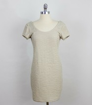 Free People Beaded Bodycon Tan Fit Dress With Beaded Detail Scoop Back R... - $24.74