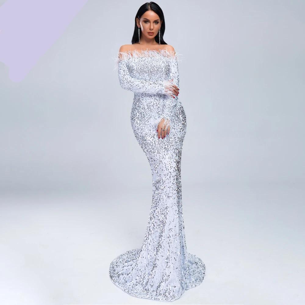 19 women sexy off shoulder feather long sleeve sequin floor length evening maxi reflective dress