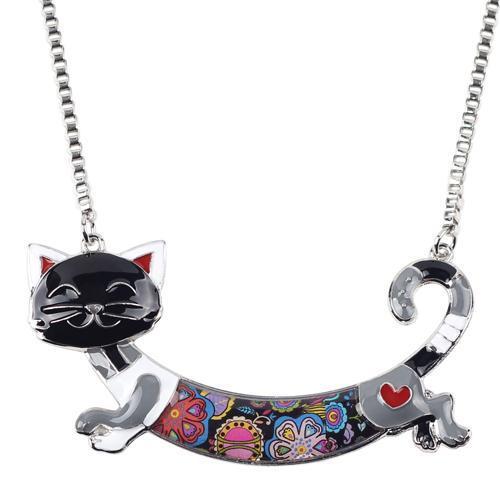 Bonsny Cute Happy Enamel Ladies Cat Themed Necklace / Choker image 6