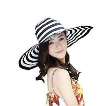 PANDA SUPERSTORE Classic Black White Stripe Style Sun Hat Travel Hat for Women