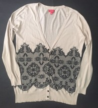 Elle Cardigan Sweater M Beige Faux Black Lace Pattern V-neck Button Front - $12.86