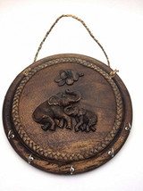25 Cm Elephant K Wood and Resin Key Holder Hanging Wall Home Decor Colle... - $61.33