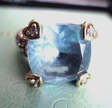 Judith Ripka 18K Gold 925 Silver Diamond BLUE QUARTZ  FONTAINE RING 6 1/... - $209.95