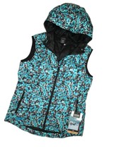 OUTDOOR RESEARCH Women's Aria Print Vest Down Alpine Lake Hooded Black S... - $100.94