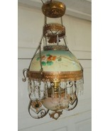 Antique Hanging Parlor Lamp Miller Lamp Company c.1895 Crystal Prisms Be... - $589.05