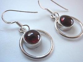GARNET Sphere in Circle Hoop Silver Dangle Earrings - $17.77