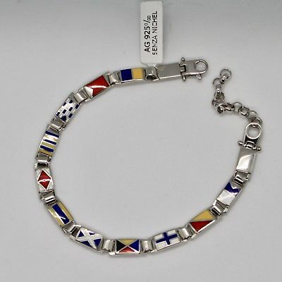 SOLID 925 SILVER BRACELET WITH MULTICOLOR GLAZED NAUTICAL FLAGS MADE IN ITALY