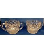 Sugar & Creamer Clear Glass Manhattan Bartlett & Collins Heavy Vintage 4... - $4.95