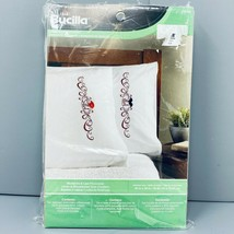 New Bucilla Mustache & Lips Mr. And Mrs. Pillowcases Embroidery Kit - $18.99