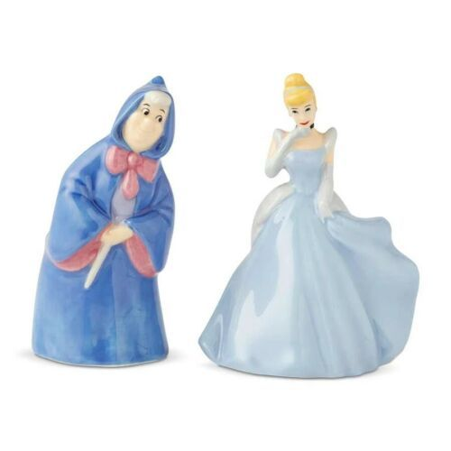 Primary image for Walt Disney Cinderella & Fairy Godmother Ceramic Salt & Pepper Shakers Set BOXED