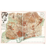 "1891 Map of Barcelona Spain Historical Townmap Citymap 11""x15"" Art Poste... - $12.38"