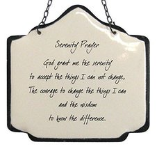 America Retold Ivory with Black Enamel Wall Decor Sign Serenity Prayer Quote (S4