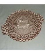 Pink Depression Glass Anchor Hocking Waterford Cake Plate Waffle Design ... - $16.99