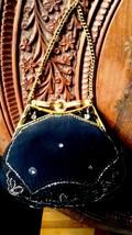 Antique Victorian  Art Nouveau Women Bag Purse Stones and Bids Decoration - $116.53