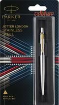 Parker Jotter Stainless Steel GT Gold Trim Fine Tip Blue Ink Ballpoint Ball 9067 - $15.50