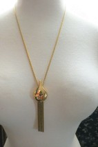 "VTG Monet Couture Pendant Necklace Chain Designer Gold Plated 25"" Dangle... - $49.49"