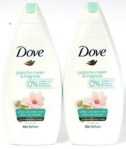 2 Bottles Dove 16.9 Oz Pistachio Cream & Magnolia 1/4 Moisture Soften Shower Gel - $20.99