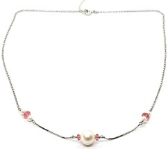 18K WHITE GOLD NECKLACE, WHITE PEARL, PINK TOURMALINE, ROLO & VENETIAN CHAIN image 1