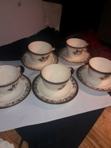 Metlox Poppytrail Provincial Rose 10 pc Cup/ Saucers hand decorated Cali... - $24.75