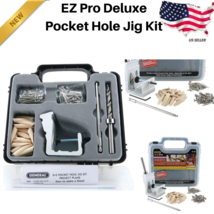 EZ Pro Deluxe Pocket Hole Jig Kit Tool System Woodworking Screw Drill He... - $35.89