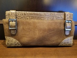 Via Spiga Clutch Suede Croc Leather Natural Beige Silver Buckle EUC - $32.73