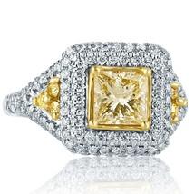 2.00 TCW Princess Cut Yellow Diamond Engagement Ring 18K White Gold - $4,097.61