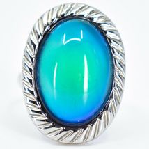 Scalloped Edge Silver Tone Oval Cabochon Color Changing Adjustable Mood Ring image 5