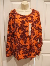 Nwt St Johns Bay Orange Burgundy Floral Tee Shirt Top Womens Plus Size 1X - $14.10