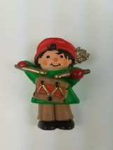 Vintage Hallmark Christmas Magnet Little Drummer Drumming Boy Red Greeen - $9.65