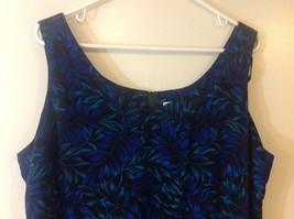 Studio I Black Sleeveless Dress w Blue/Teal Foliage Pattern Sz 18 image 2
