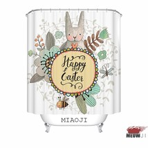 [MIAOJI] Watercolor Animals Cute Rabbit Bunny Bees Flowers Print Shower Curtain  - $39.43