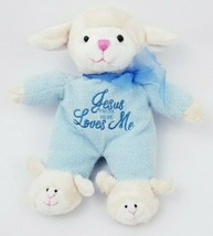 Dan Dee Blue Sheep Lamb Baby Lovey Jesus Loves Me Plush Stuffed Toy Animal - $44.54