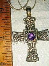 VTG CELTIC 925 STERLING AMETHYST CROSS NECKLACE SEED PEARL LEVERBACK EAR... - $397.99