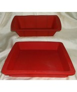 2 Pc Bakeware Set Baking Molds Nonstick Silicone Set with Round & Rectan... - $12.86
