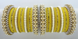 In01an Traditional 38 Pcs Yellow Cz Gold Tone Party Wear Bangles Set Jew... - $43.76