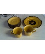 "La Mancha Gold Metlox Poppytrail 8.75"" Bread Plate, 2ea Cups, and 7 Saucers - $24.97"