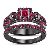 Women's Bridal Engagement Ring Set In Pink Sapphire Black Rhodium Fn. 925 Silver - $101.99