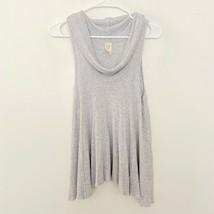 We The Free Rib Knit Cowl Neck Sleeveless Flowy Gray Tank Top Size XS - $12.49