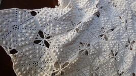 "VTG Handmade Crochet Ecru Cotton Bedspread Coverlet double Bed cover 88""... - $190.08"